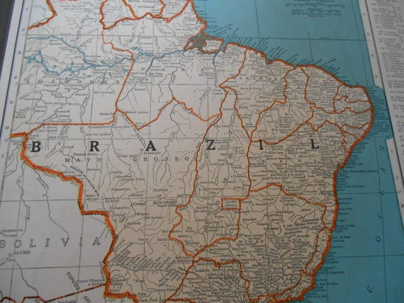 Map of brazil vintage south america map 1930s world atlas gumiabroncs Image collections