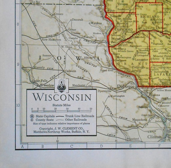 Vintage Map Of Wisconsin 1930s State Map Antique Atlas Map Etsy