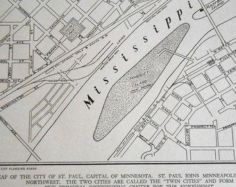 St Paul Minnesota Street Map, Vintage 1930s old City map