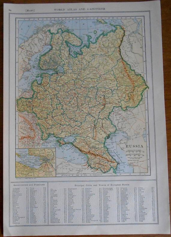 1918 Russia Map Original Antique Map Poland Finland Vintage