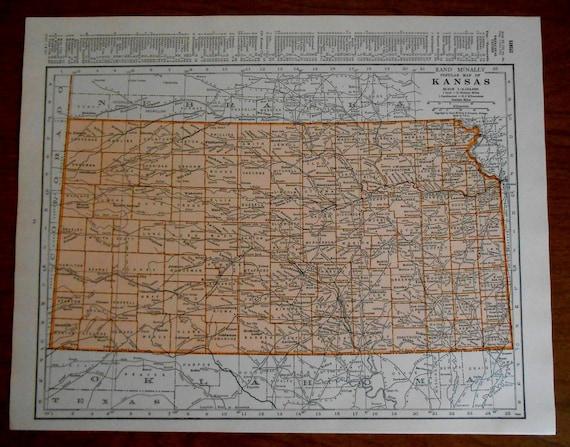 Old Kansas Map.Old Kansas Map 1937 Vintage Us State Atlas Map Wall Art Map Etsy