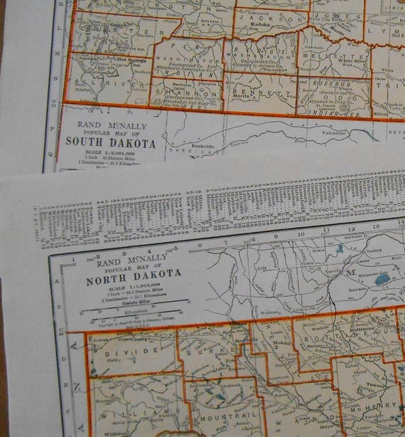 Vintage maps Dakota Collection Set of 2 North South Dakota | Etsy
