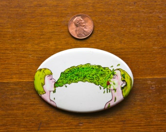 """3"""" x 2"""" Oval Barf Glow in The Dark Pinback Button Limited Edition"""