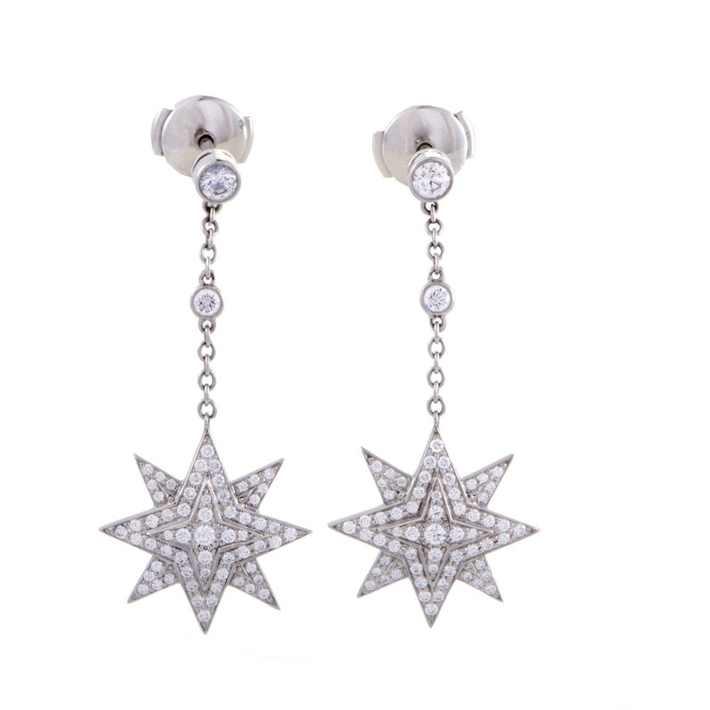 e394855c5 Tiffany & Co Platinum and Diamond Star Starburst Earrings   Etsy