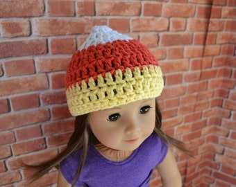 18 inch Doll Clothes - Crocheted Beanie - Candy Corn - Halloween - MADE TO ORDER - fit American Girl
