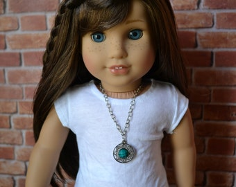 18 inch Doll Clothes -  Turquoise Sunburst Necklace - DOLL JEWELRY - fits American Girl - #001