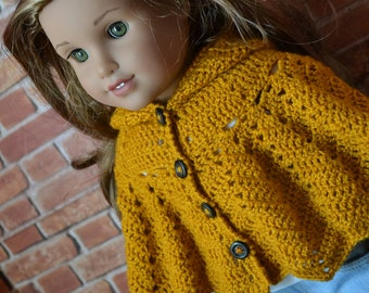 18 inch Doll Clothes - Crocheted Hooded Poncho Sweater - Mustard Saffron Yellow - MADE TO ORDER - fits American Girl