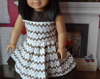 18 inch Doll Clothes - Pretty Dress - Brown Chevrons - fits American Girl