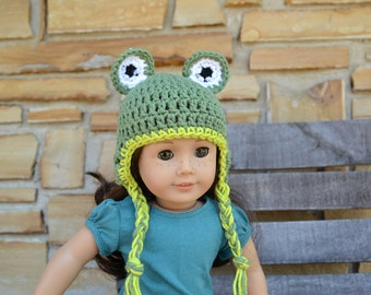 18 inch Doll Clothes - Crocheted Beanie with Ear Flaps - Froggie Style - MADE TO ORDER - fits American Girl