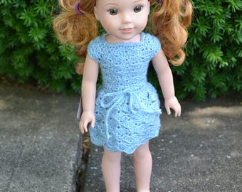 14.5 inch Doll Clothes, Selena Dress, LIGHT BLUE, crochet dress , Small Doll Clothes, fits Wellie Wisher Dolls