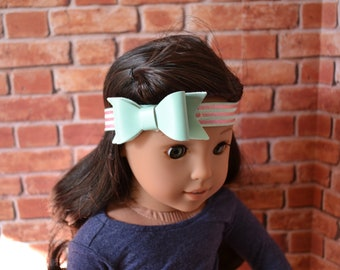 18 inch Doll Clothes - Sparkle Bow Elastic Headband - Mint Pink Stripes - fits American Girl