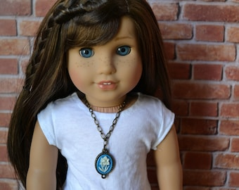 18 inch Doll Clothes -  Flower Cameo Necklace - DOLL JEWELRY - fits American Girl - #002