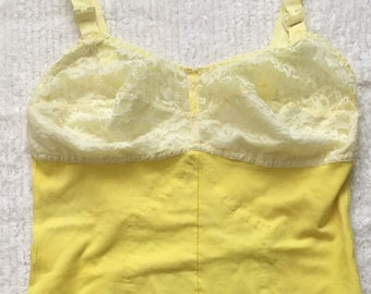3abdf3a711e8 RARE Vintage Custom YELLOW *Size S* Girdle Shaper Bodysuit Sheer Lace Cups