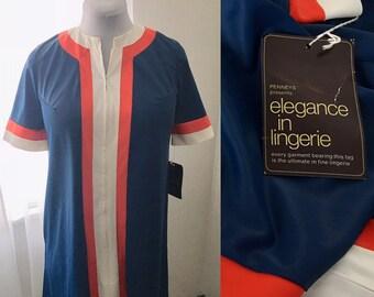 NWT Vintage Penneys  Size S P  Short Nylon Stripe Pullover Housecoat Bath  Robe Caftan 461cd3d77
