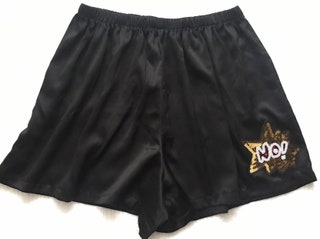 Custom VTG Victoria's Secret *Size L* Sequin 'NO' Silky Pajama Sleep Boxer Shorts Pajamas