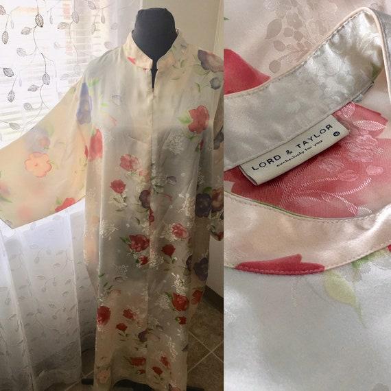 Vintage Lord & Taylor *Plus Size* Floral Jacquard Maxi Caftan Hostess Gown  Robe Bathrobe