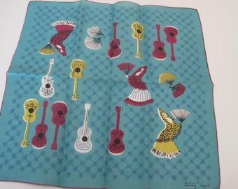 Vintage Tammis Keefe Flamenco Guitar Linen Hankie
