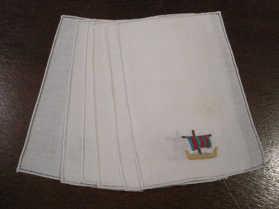 6 Antique Linen Cocktail Napkins from the 1930s with Embroidered Roosters Housewarming