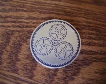 Steampunk Gear Motif Pin or Pendant