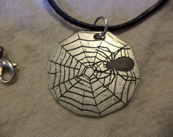 Etched Nickel Silver Spider Web Pendant