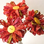 3 Ribbon Flowers Indian Summer, handmade fabric bouquet, table decor, centerpiece