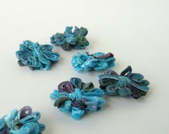 6 Ribbon Flower Appliques Aegean Blue