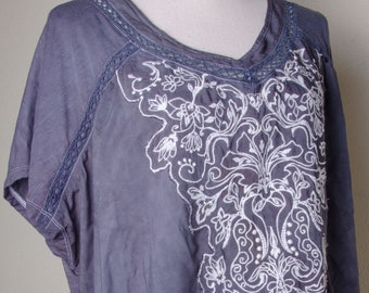 dbe63b2c1c7 Boho grey Embroidered plus size top tops shirt shirts indian ladies womens  hippie hippy 2x dress boho 3x 4x xxxl xl gray tees t-shirts