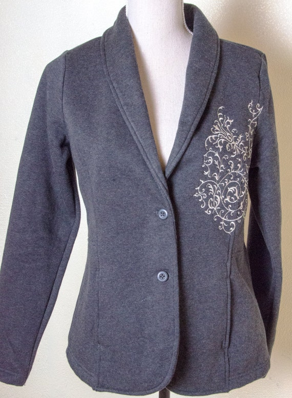 Holiday Sale Embroidered Warm Cotton Dress Suit Navy Gray Etsy