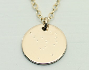 Orion constellation necklace - orion necklace - orion jewelry - gold necklace - orion constellation jewelry - gold disc necklace - circle