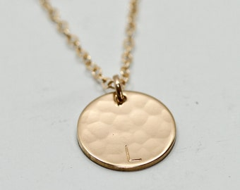 Initial necklace - gold disc necklace - dainty gold necklace - engraved initial jewelry - delicate personalized jewelry - gift for mom