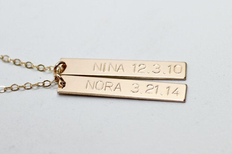 490dc1483dd92e Custom bar necklace kids names necklace gold bar necklace | Etsy