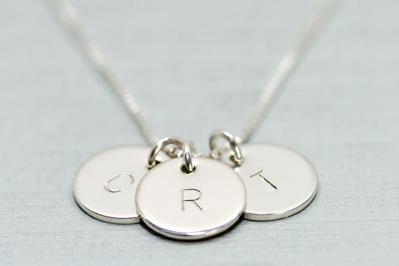 Sterling silver initial necklace  dainty silver necklace  image 0