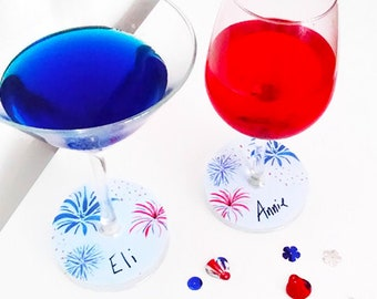 image regarding Printable Wine Glass Tags known as July 4th wine tags Etsy