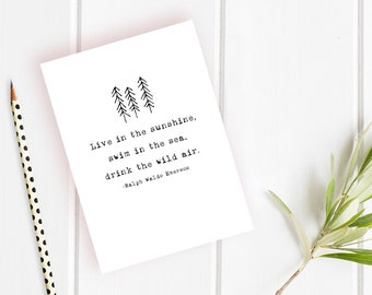 Live in the Sunshine Card - Ralph Waldo Emerson Quote - Graduation Card