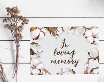 In Loving Memory Sign - Printable Wedding Sign - Rustic Wedding Decor