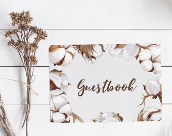 Printable Guestbook Sign - Rustic Guestbook Sign - Cotton Wedding Decor