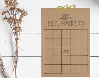 Floral Bridal Shower Games - Printable Bridal Shower Bingo - Bridal Shower Bingo Cards - Rustic Bridal Shower - Minimalist Bridal Shower