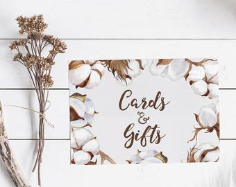 Cards & Gifts Printable Sign - Rustic Wedding Decor - Farmhouse Wedding