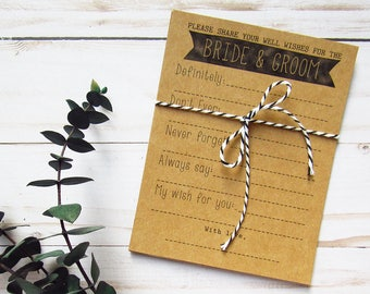 Well Wishes for the Bride and Groom - Wedding Advice Cards - Advice for the Bride & Groom - Bridal Shower Advice - Wedding Well Wishes Cards