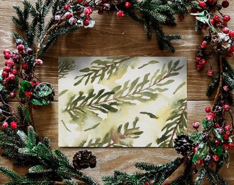 Watercolor Christmas Tree Cards - Boxed Set of Holiday Cards - Botanical Evergreen Cards Set - Blank Cards for Winter Holidays - Fir Tree