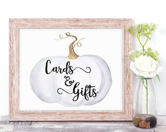 Printable Cards & Gifts Sign - Rustic Wedding Decor - White Pumpkin