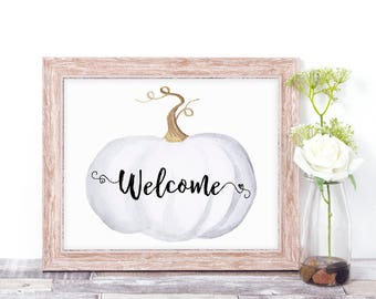 Printable Welcome Sign - Rustic Wedding Sign - Rustic Pumpkin Decor