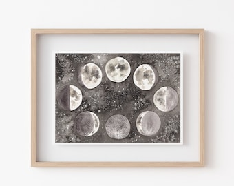 Original Moon Watercolor Painting - Phases of the Moon Original Art - Moon Home Decor - One of a Kind Fine Art Painting
