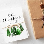 Oh Christmas Tree Cards - Boxed Christmas Card Set - Rustic Evergreen Trees - Handmade Holiday Cards - Oh Tannenbaum - Modern Holiday Cards