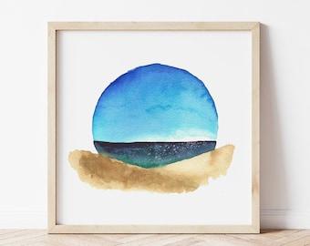 Watercolor Beach Art Print - Sleeping Bear Dunes Painting - Coastal Home Decor for Great Lakes Lover - Michigan Artist Print