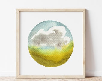 Watercolor Landscape Art Print - Field Painting for Nature Lover - Impressionist Cloud Wall Art - By Michigan Artist Ashley Pahl