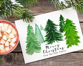Personalized Set of Christmas Cards - Merry Christmas From You or Your Family - Boxed Set of Holiday Cards - Watercolor Christmas Tree Cards