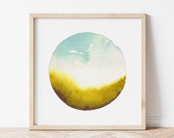 Meadow Landscape Art Print - Watercolor Field Painting - Calming Wall Art for Nature Lover - Fine Art Print Made in Michigan