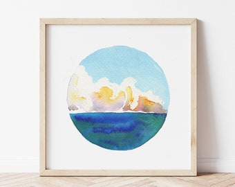 Dreamy Cloud Seascape Painting - Coastal Landscape Art Print - Great Lakes Wall Art - Modern Watercolor Painting for Beachy Home Decor