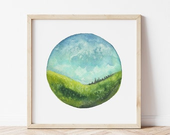 Mountain Valley Painting - Watercolor Landscape Art Print - Modern Wall Art for Farmhouse Decor - Nature Lover Gift